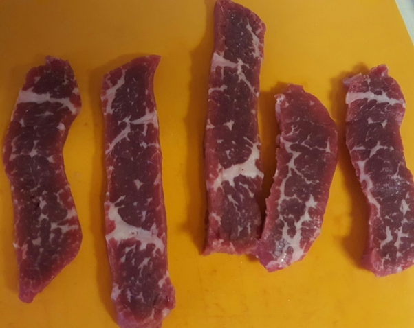 Sliced beef works nicely