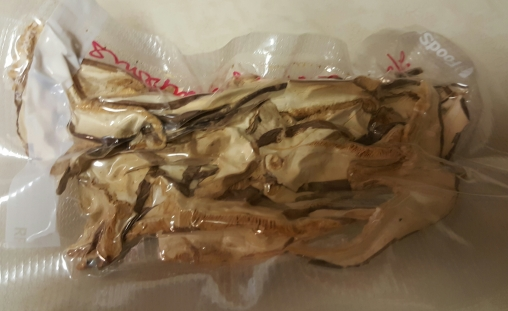 Shiitake mushrooms. I bought a huge bag and separated, preserving with the food sealer.