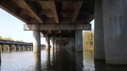 A view of the bridge under I-10
