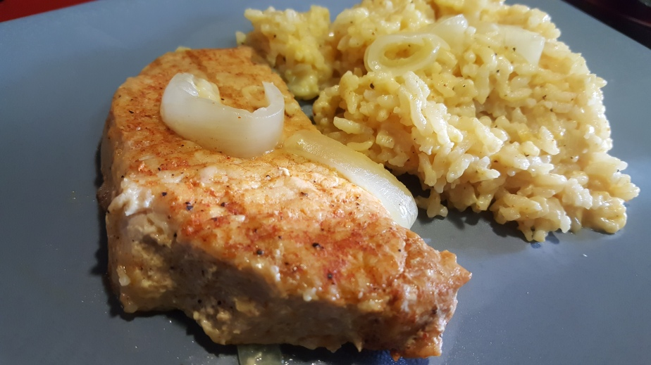 Pork Chops & Applesauce…I Mean Rice!  Pork Chops and Rice.