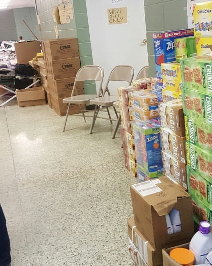 Donation overload at the Shelter in Abbeville, LA 8/18/16